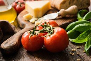 Tomatoes on vine, italian food