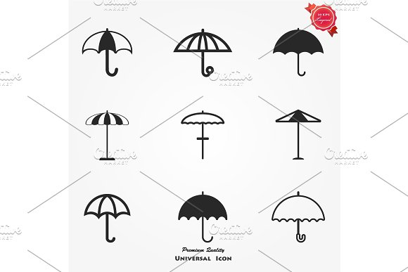 Umbrella Sign Icon Rain Protection Symbol Flat Design Style