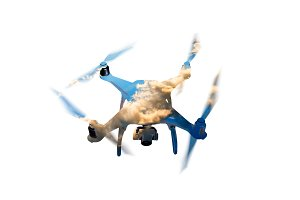 Double exposure. Hovering drone and sky with clouds. Isolated.