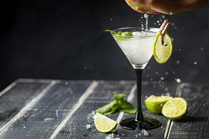 Fresh classic lime margarita cocktai
