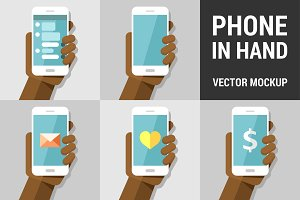 Hand using vector mobile phone