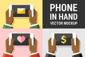 Vector phone mockup in human hands