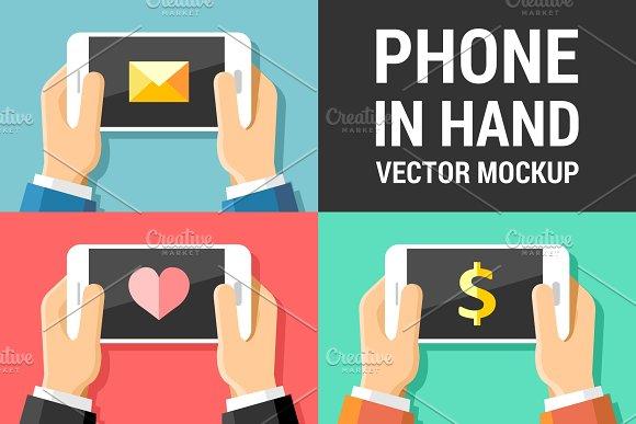 Vector Phone Mockup In Human Hands