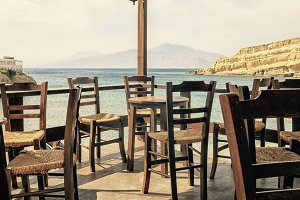 Outdoor restaurant in Greece