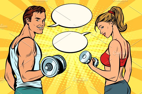Man And Woman With Dumbbells Comic Strip Dialogue Bubble