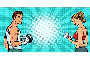 fitness sports background, man and woman with dumbbells
