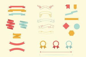 Vector ribbon, banner, border pack
