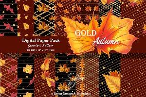 Gold autumn digital paper