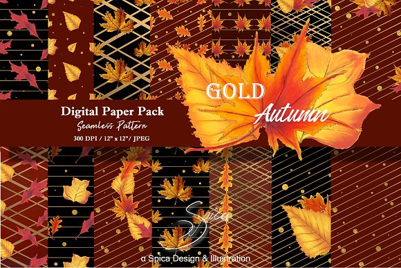 Gold Autumn Digital Paper