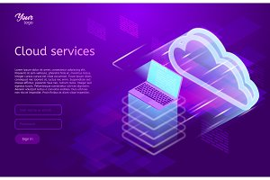Isometric vector illustration showing the cloud computing services concept laptop and web servers. Cloud data storage.. Ultraviolet colors