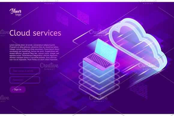 Isometric Vector Illustration Showing The Cloud Computing Services Concept Laptop And Web Servers Cloud Data Storage Ultraviolet Colors