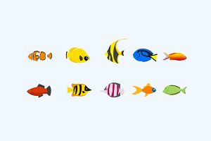 10 Tropical Fish Icons