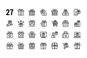 Gift, present, surprise vector icons