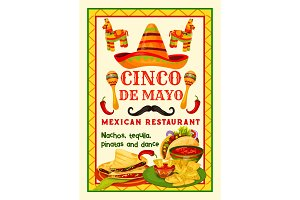 Mexican festive food card of Cinco de Mayo holiday