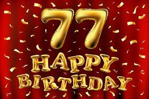 happy birthday 77 balloons gold