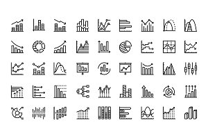Data analysis, chart, diagram icons