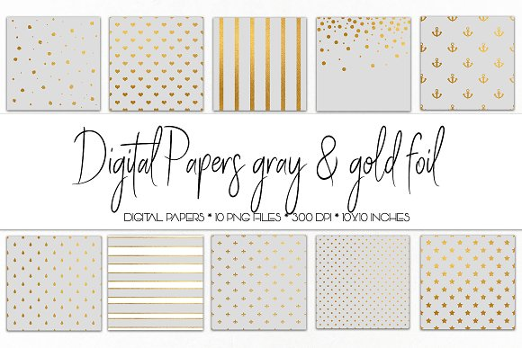 Digital Paper Gray And Gold Foil