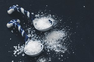 White salt in spoon