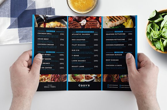 Trifold Restaurant Menu Template Brochure Templates Creative Market