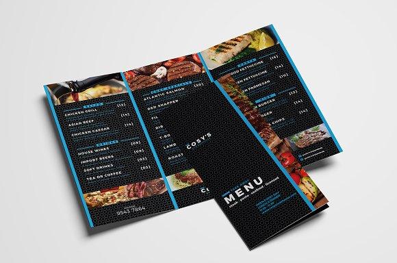 Trifold Restaurant Menu Template Brochure Templates Creative Market - Tri fold menu template