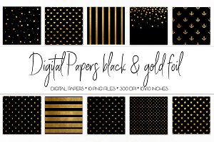 Digital Paper Black and Gold Foil