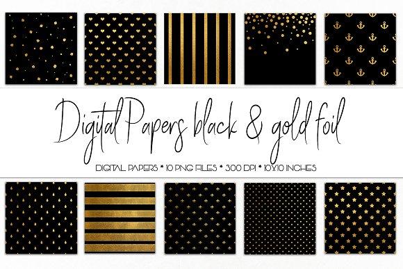 Digital Paper Black And Gold Foil