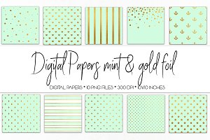 Digital Paper Mint and Gold Foil