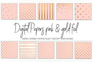 Digital Paper Pink and Gold Foil
