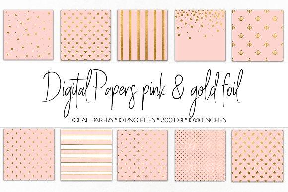 Digital Paper Pink And Gold Foil