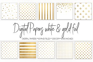 Digital Paper White and Gold Foil
