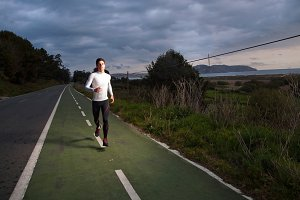 Runner man portrait with flash light