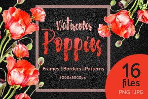 Watercolor red poppies PNG  set