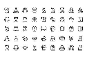 Clothes, fashion, accessories icons