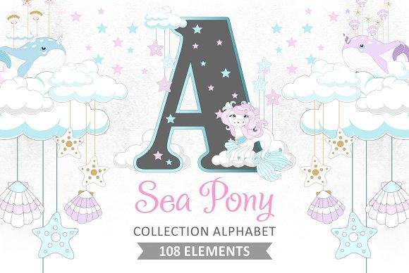 collection alphabet sea pony illustrations creative market