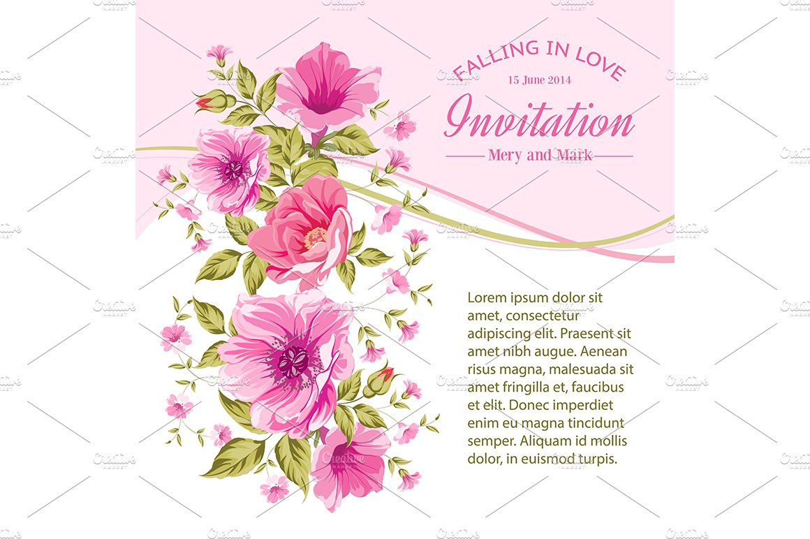 Invitation card template with flower card templates creative market m4hsunfo