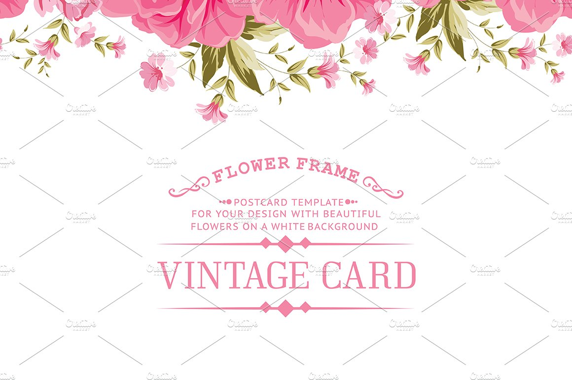 Border Of Flowers Card Templates Creative Market