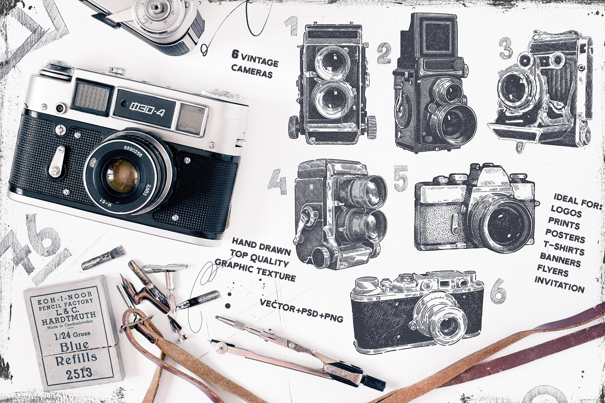 Camera Vintage Vector Png : Vintage cameras set. vol.1 ~ illustrations ~ creative market