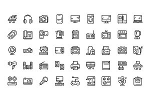 Household electronic appliance icons
