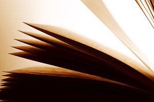 Open old book, pages fluttering.