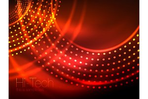 Magic neon circle shape abstract background, shiny light effect template for web banner, business or technology presentation background or elements, vector illustration