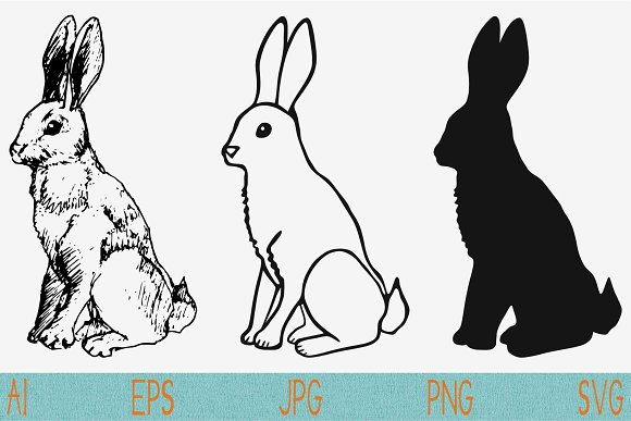 rabbit hare vector SVG DXF PNG