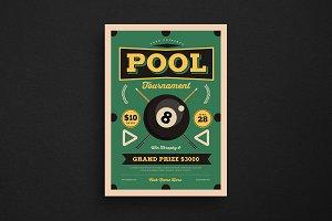 Retro Pool Night Tournament Flyer