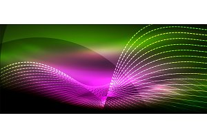 Glowing abstract wave on dark, shiny motion, magic space light. Techno abstract background
