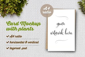 Card Mockup with Plants