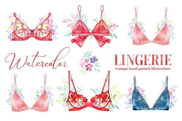 5 Watercolor Lingerie Illustrations