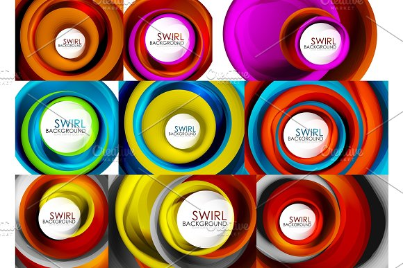 Set Of Spiral Swirl Flowing Lines 3D Vector Abstract Background Designs Rotating Concept Ideas