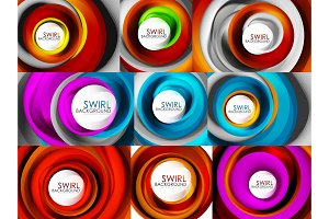 Set of spiral swirl flowing lines 3d vector abstract background designs. Rotating concept ideas