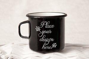 Black metal cup enamel mug mockup