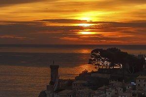 Sunrise in sea .Tossa de Mar