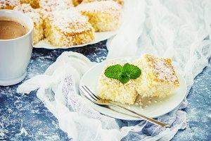 Cakes in coconut shavings.